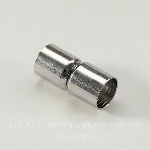 Замок для шнура 8 мм магнитный из 2х частей, 20х9 мм (цвет - платина)