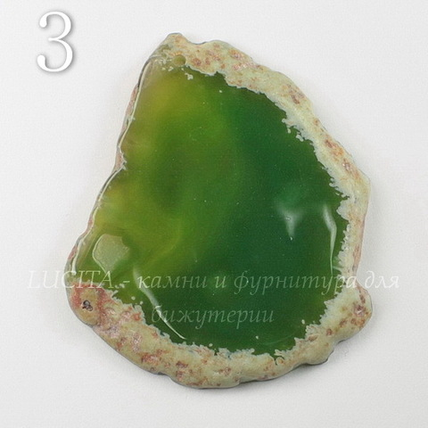 Подвеска Срез Агата (тониров)(цвет - оливковый) 43-76 мм (№3 (58х48 мм))