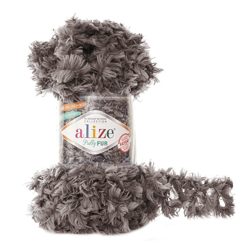 Купить Пряжа Alize Puffy Fur Цвет 6105 Коричневый | Интернет-магазин пряжи «Пряха»
