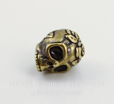 """Бусина TierraCast """"Череп с розой"""" 10х8 мм (цвет-античная латунь)"""