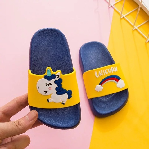Тапочки единорог сине-желтые