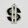 """Подвеска металлическая с эмалью """"Доллар"""" (цвет - античное серебро) 18х15 мм"""