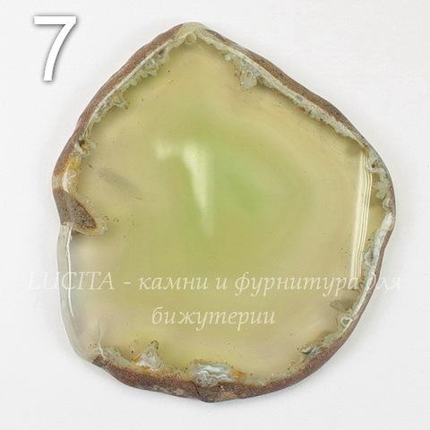 Подвеска Срез Агата (тониров)(цвет - оливковый) 43-76 мм (№7 (75х67 мм))