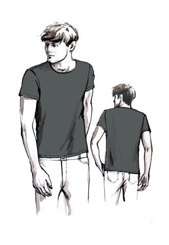 Выкройка мужской футболки с коротким рукавом