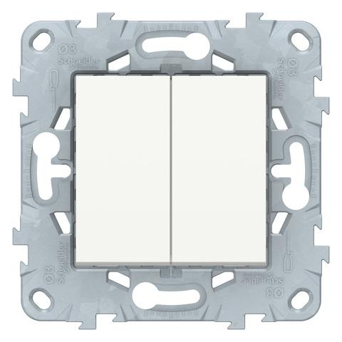 Выключатель двухклавишный. Цвет Белый. Schneider Electric Unica New. NU521118