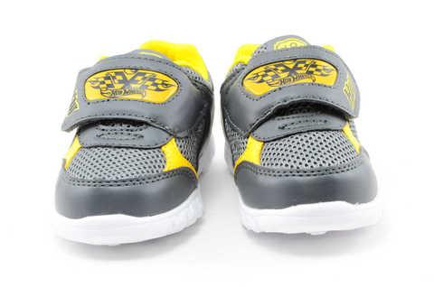 Светящиеся кроссовки для мальчиков Хот Вилс (Hot Wheels), цвет темно серый, мигают картинки сбоку и на липучках. Изображение 5 из 12.