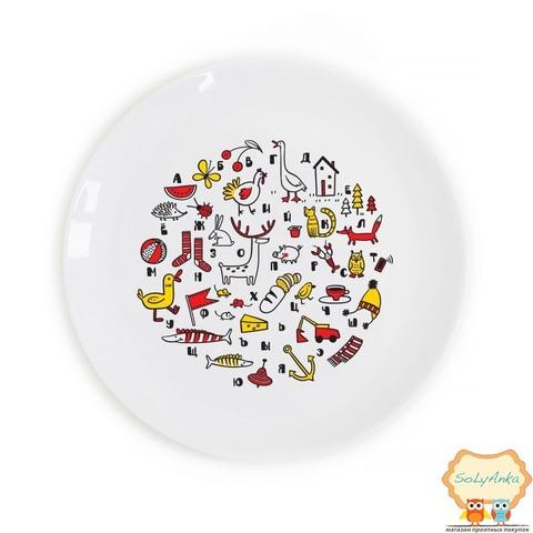 """Детская тарелка """"Алфавит"""" цветная"""