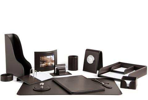 Набор на стол руководителя 1602-СТ 14 предметов кожа Cuoietto цвет шоколад на фото.