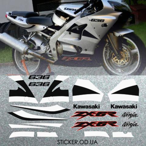 Набор виниловых наклеек на мотоцикл KAWASAKI ZX-6R 2002