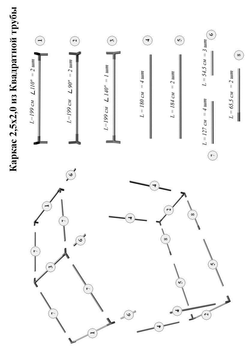 Схема сборки торговой палатки Митек Домик 2.5x2 из квадратной трубы ⊡20х20 мм с логотипом