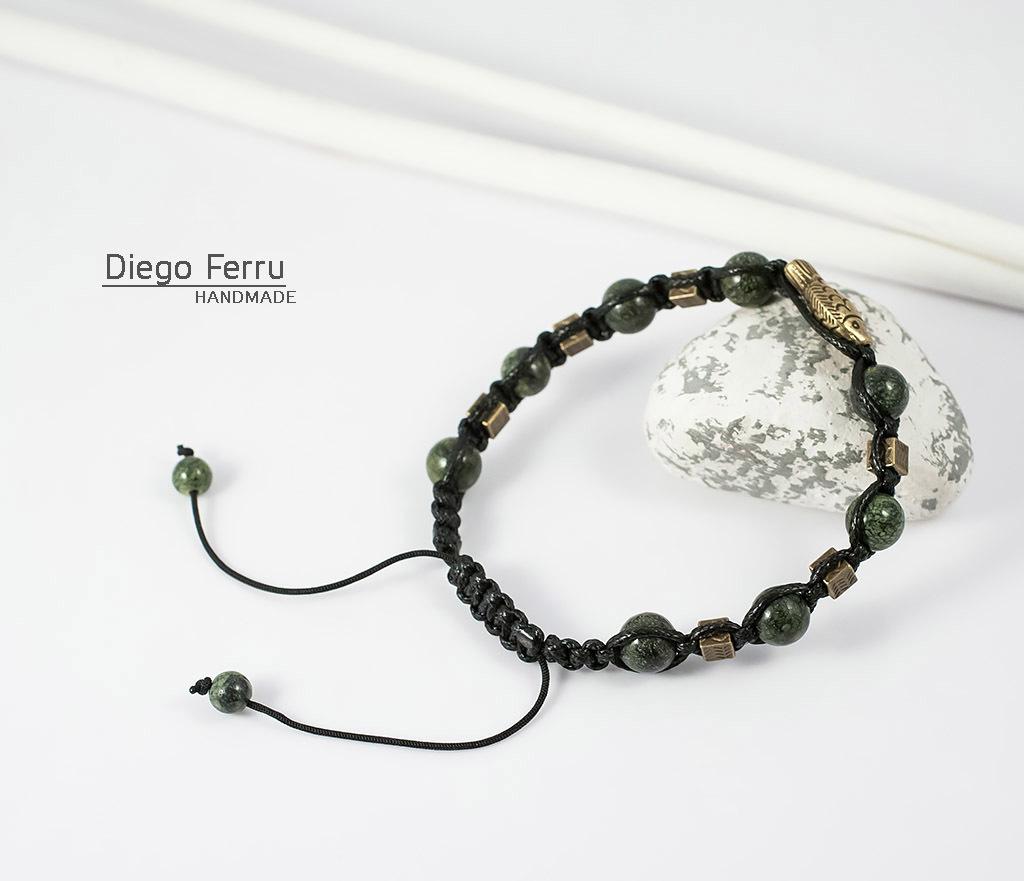 BS627 Стильный браслет из змеевика с металлической фурнитурой. «Diego Ferru» фото 05