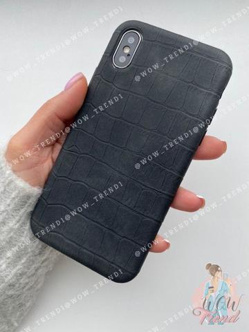 Чехол iPhone  XS Max Leather case full /black/