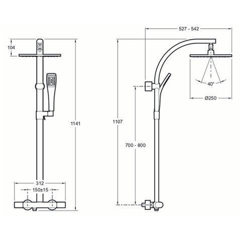 Душевая стойка Jacob Delafon Talan E11717RU-CP схема