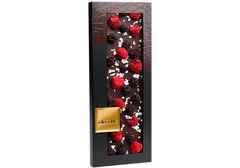 Горький шоколад со съедобным серебром, малиной и ежевикой, 100г