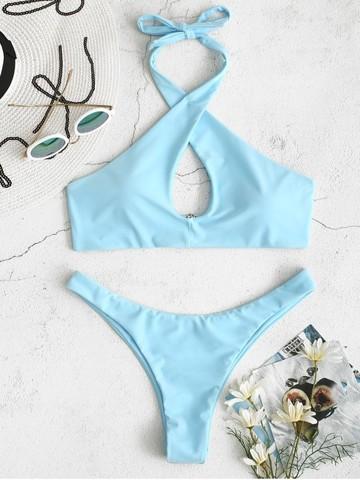 купальник с лямками  голубой