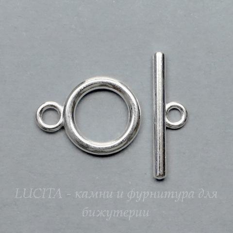 Замок - тоггл из 2х частей (цвет - серебро) 19х14 мм , 23х6 мм