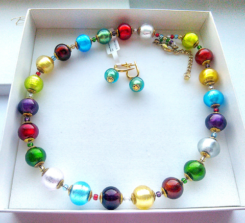 Комплект Carnavale Multicolor (серьги на серебре, ожерелье)