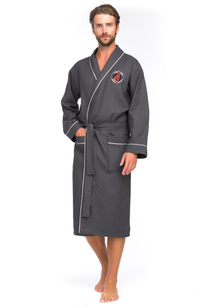 Халаты мужские Вафельный бамбуковый халат 415 серый 415ер.jpg