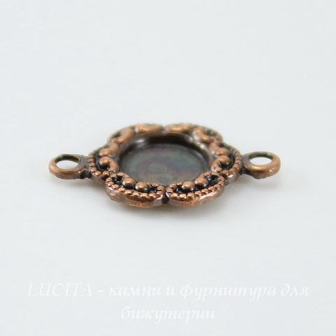 Сеттинг - основа - коннектор (1-1) для камеи или кабошона 5 мм (оксид меди)
