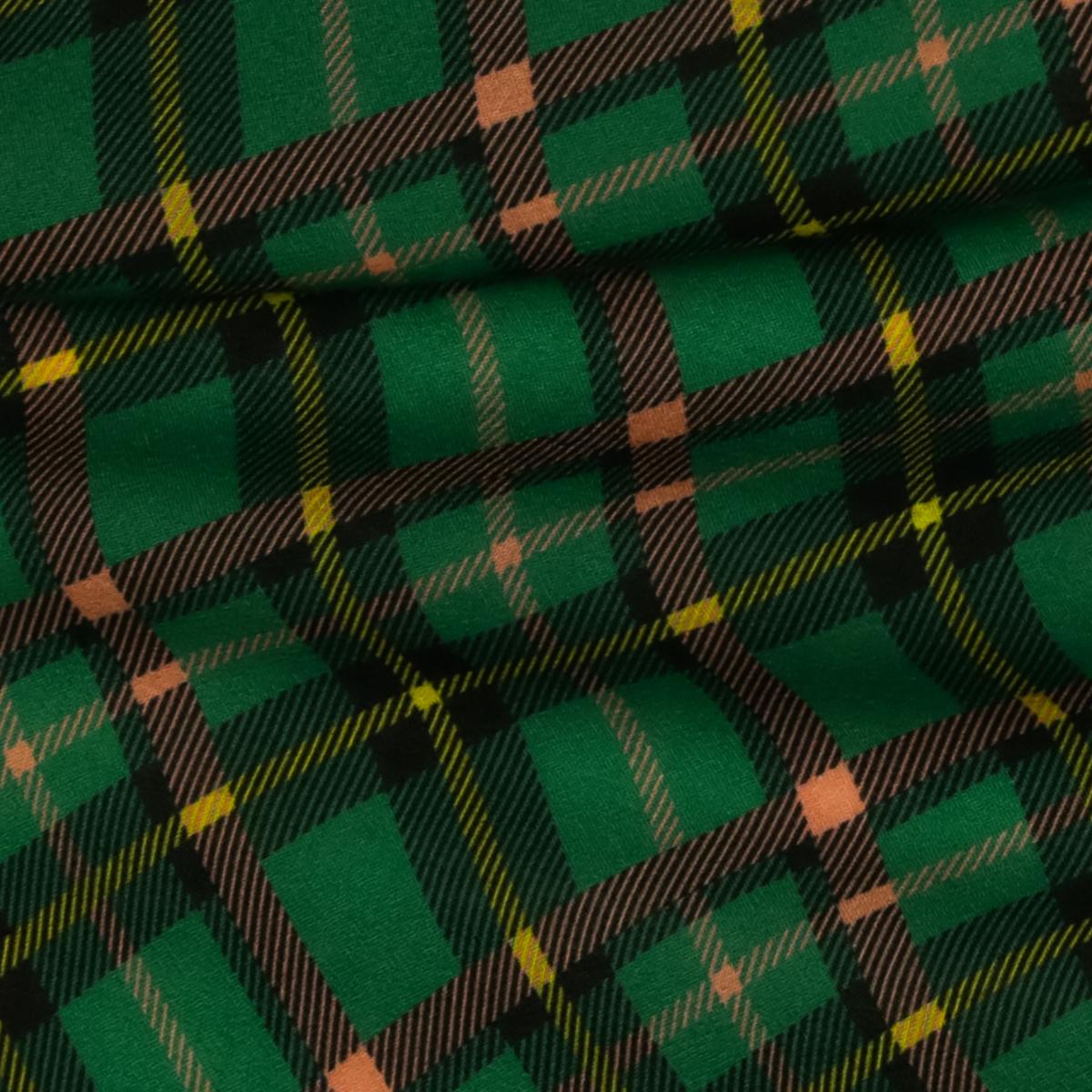 Шерстяной плательный креп зеленого цвета в клетку по диагонали