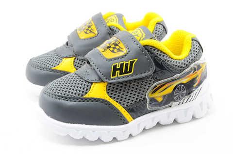 Светящиеся кроссовки для мальчиков Хот Вилс (Hot Wheels), цвет темно серый, мигают картинки сбоку и на липучках. Изображение 6 из 12.