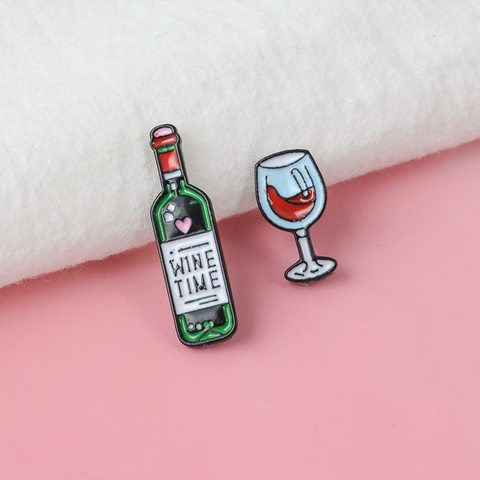 Значок, пін - Комплект Пляшка вина та Келих, Wine Time