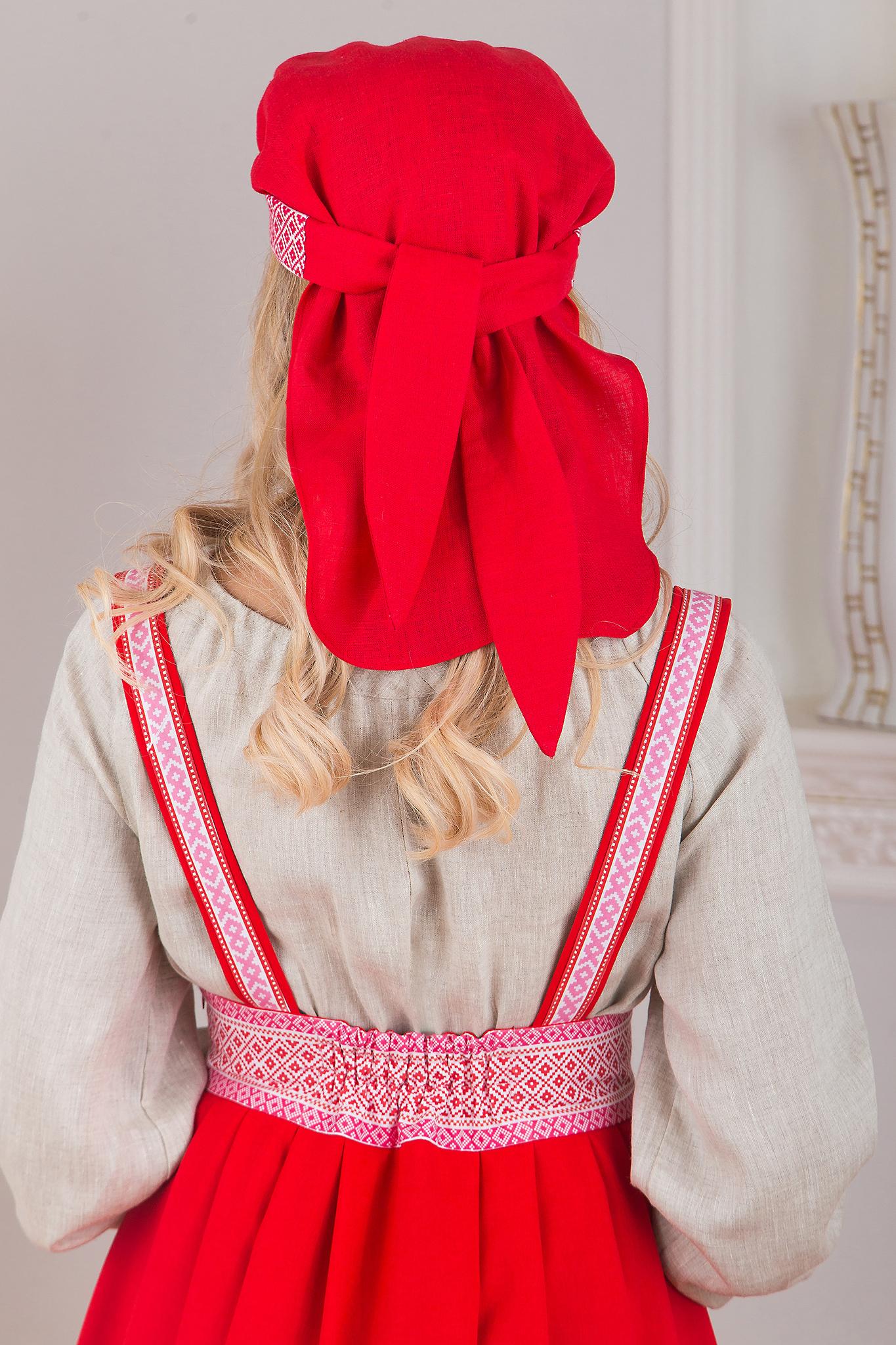 Сарафан подгрудный Орепей красный сзади приближенный фрагмент