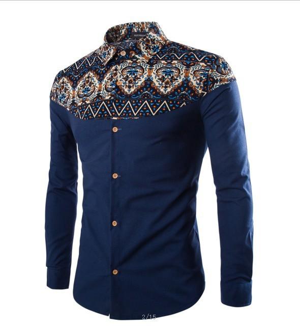 мужские рубашки Мужская рубашка с орнаментом Slim Fit 3821956180_102139219.jpg