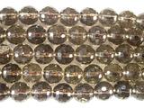 Нить бусин из кварца дымчатого, фигурные, 10 мм (шар, граненые)