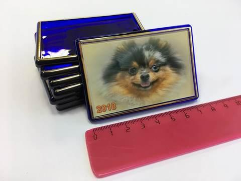 Акриловый магнит 52х77 мм с тиснением, синий