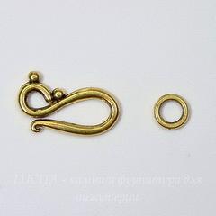Замок - крючок из 2х частей 24х12 мм (цвет - античное золото)