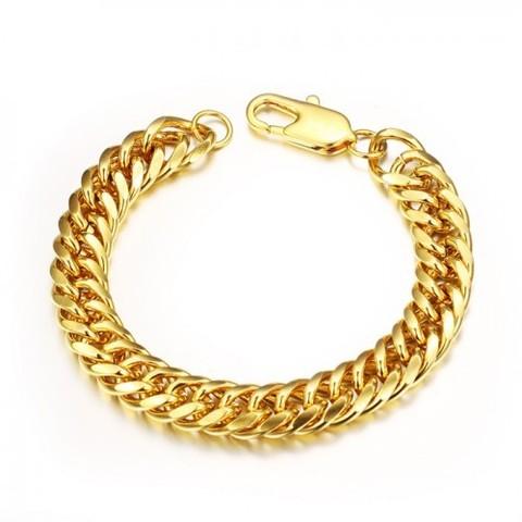 Солидный мужской браслет цепь на руку из ювелирной стали двойного панцирного плетения золотистого цвета Steelman man029