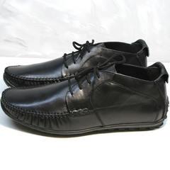 Мокасины с шнурками мужские Ikoc 112-1Black
