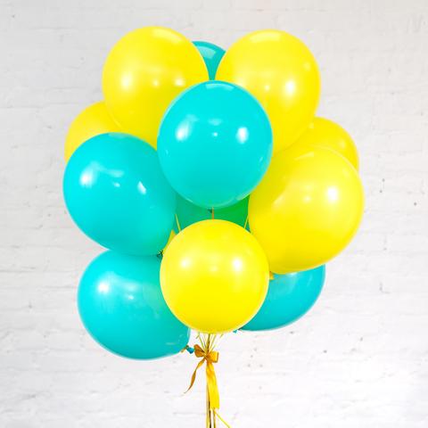 Букет из 15 шаров (Аквамариновый и Желтый)