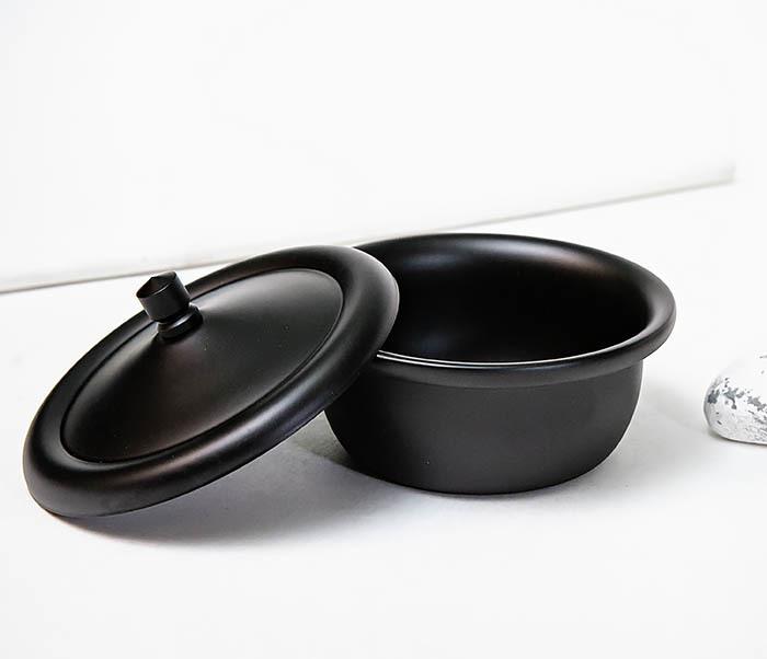 RAZ516 Черная стальная чаша для бритья с крышкой фото 04