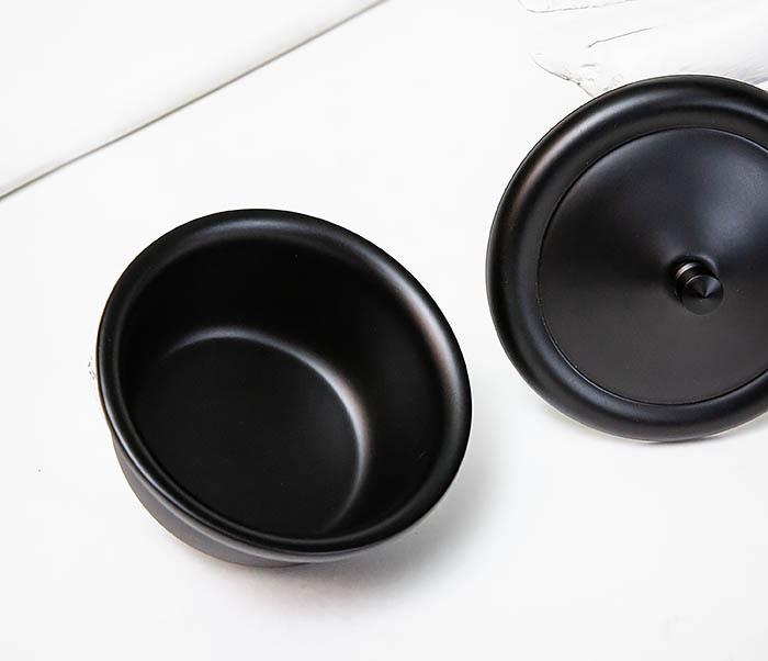 RAZ516 Черная стальная чаша для бритья с крышкой фото 06