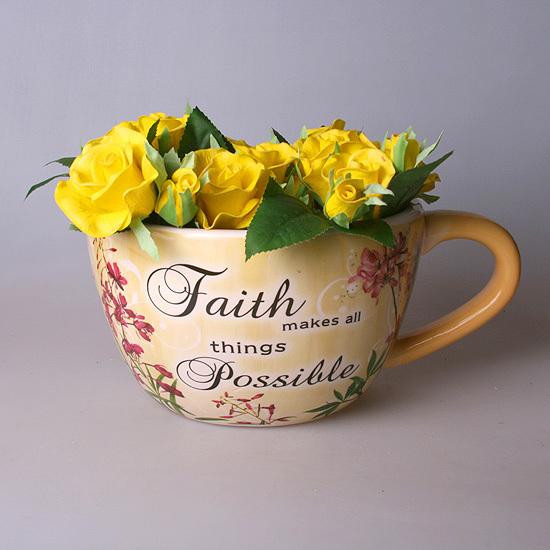 Кашпо - чашка на стену желтая 15600-1