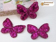Мягкий декор Бабочки глиттерные малиновые