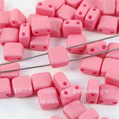 Бусина Tile mini Квадратная плоская с 2 отверстиями, 5 мм, розовая матовая