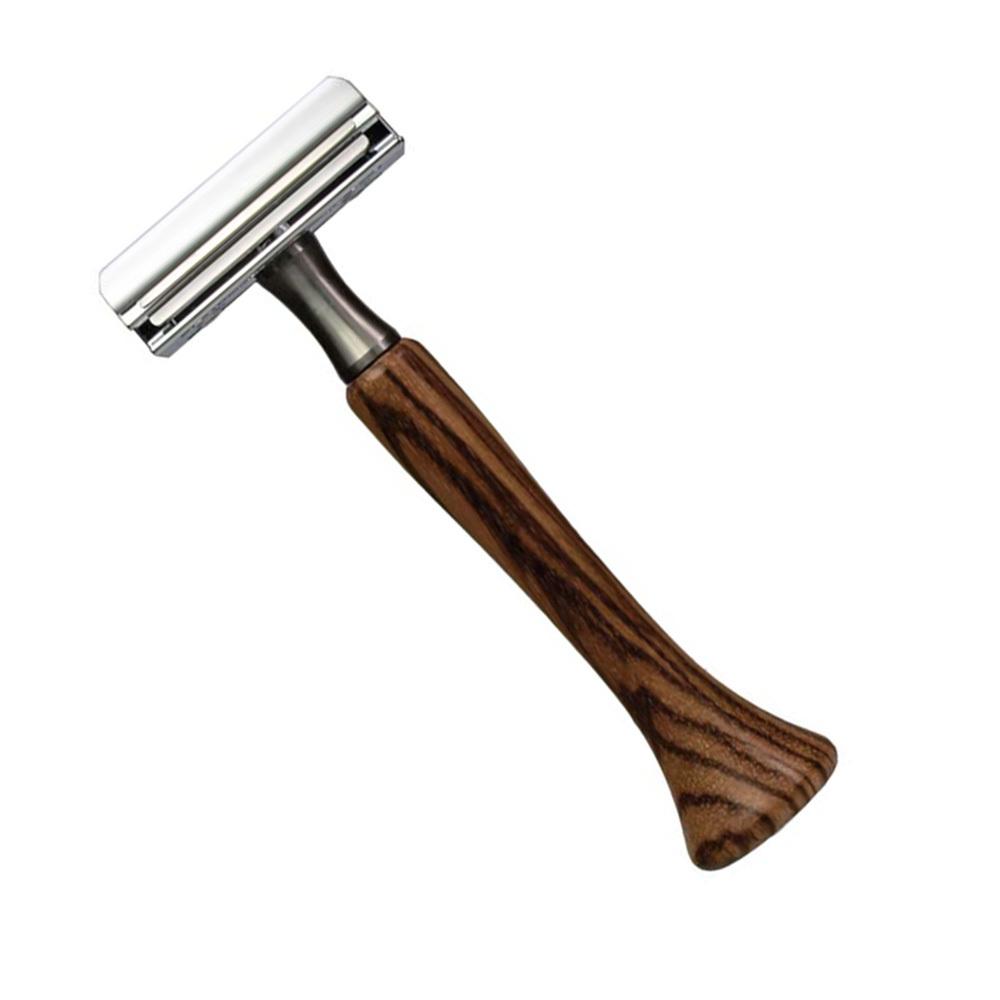 Станок для бритья Erbe с двумя лезвиями, цвет хром/дерево