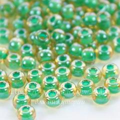 11355 Бисер 6/0 Preciosa прозрачный глянцевый золотистый с зеленым центром