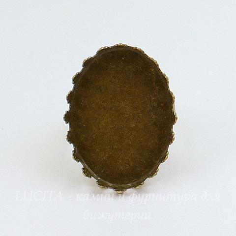 Основа для кольца с сеттингом с зубчатым краем для кабошона 25х18 мм (цвет - античная бронза)
