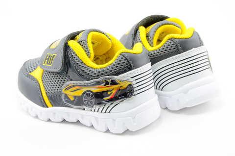 Светящиеся кроссовки для мальчиков Хот Вилс (Hot Wheels), цвет темно серый, мигают картинки сбоку и на липучках. Изображение 7 из 12.