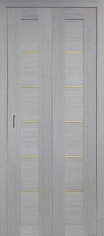 > Экошпон складная Optima Porte Турин 501АПП молдинг SG  (2 полотна), цвет дуб серый, глухая