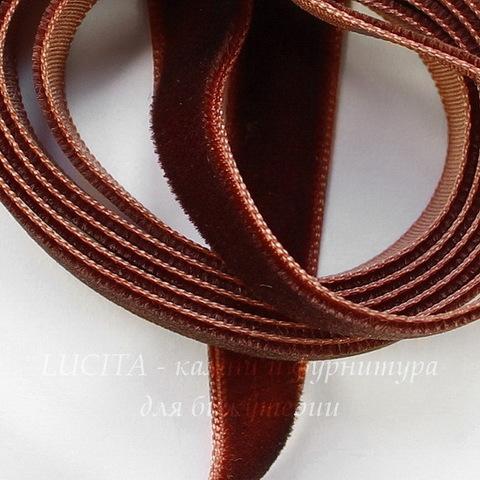 Лента бархатная, цвет - коричневый, 10 мм, примерно 1 м
