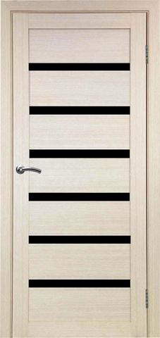 > Экошпон Optima Porte Турин 507.12, стекло лакобель чёрное, цвет беленый дуб, остекленная