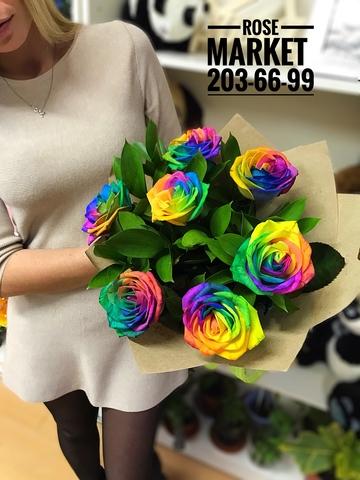 Букет из радужных роз #1783