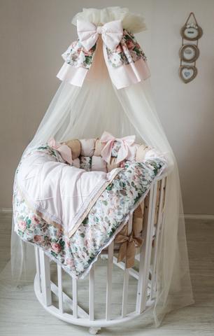 Комплект в круглую/овальную кроватки Карамель