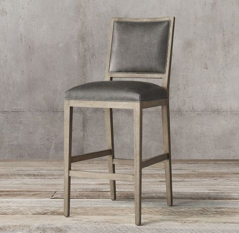 French Contemporary Square Leather Stool