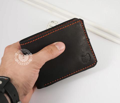 WB123-3 Черное кожаное портмоне с отделением для карт. &#34Boroda Design&#34